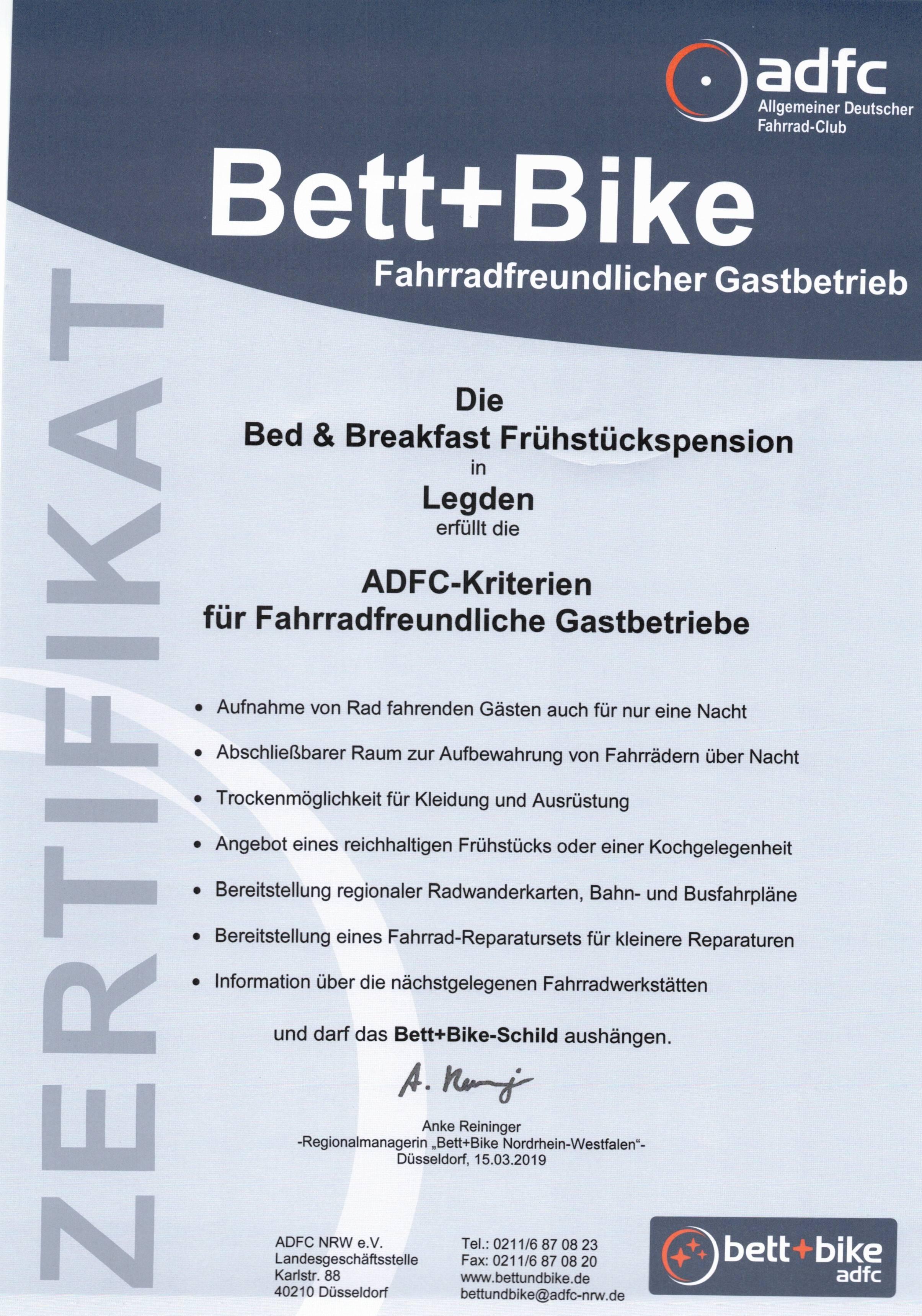 Zertifikat ADFC